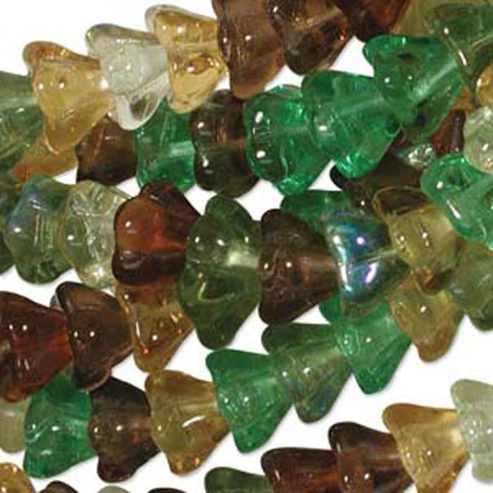 Earth Tones Mix 10x13mm Flower Cone 45 Bead Cap Czech Glass Beads