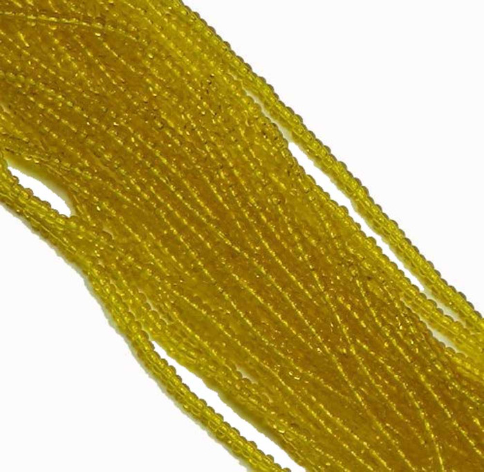 Yellow Transparent Preciosa Czech Glass 6/0 Seed Bead on Loose Strung 6 String Hank