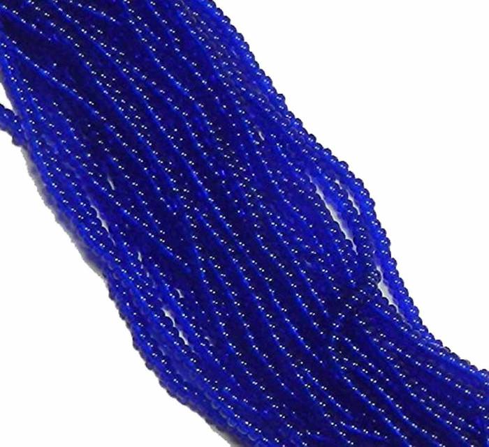 Sapphire Transparent Preciosa Czech Glass 6/0 Seed Bead on Loose Strung 6 String Hank