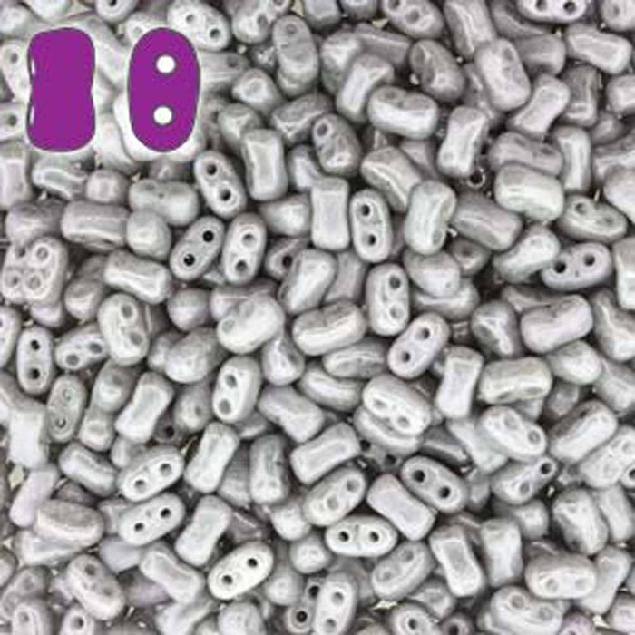 Chalk Jet Luster BI-BO Czech Glass 2 hole Seed Beads 5.5x2.8mm 22gr