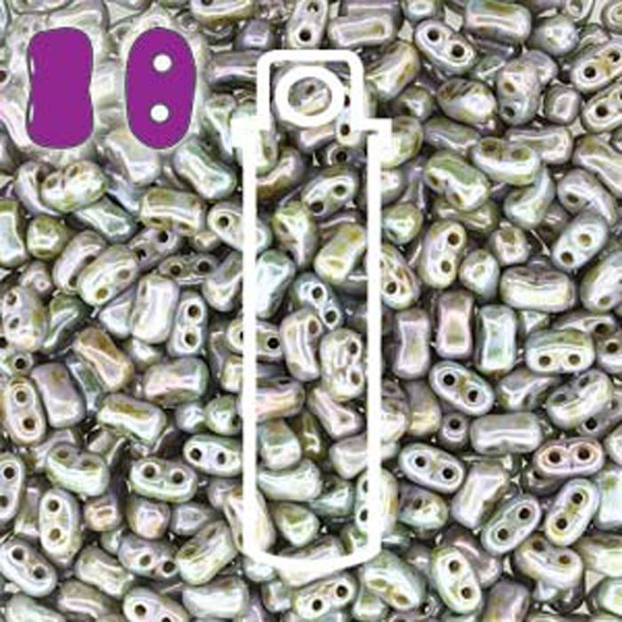 Chalk Lazure Blue BI-BO Czech Glass 2 hole Seed Beads 5.5x2.8mm 22gr