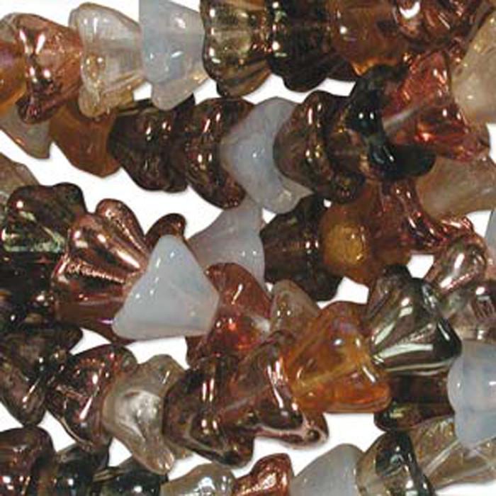 Honey Butter Mix 10x13mm Flower Cone 45 Bead Cap Czech Glass Beads