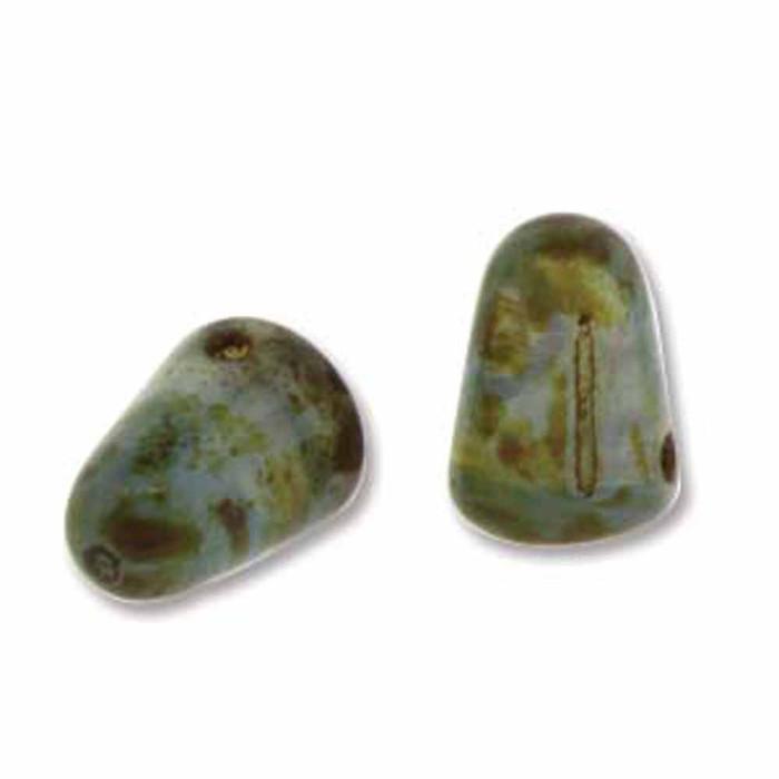 Milky Sapphire Picasso 20 Czech Glass Gumdrop Beads 7.5x10mm