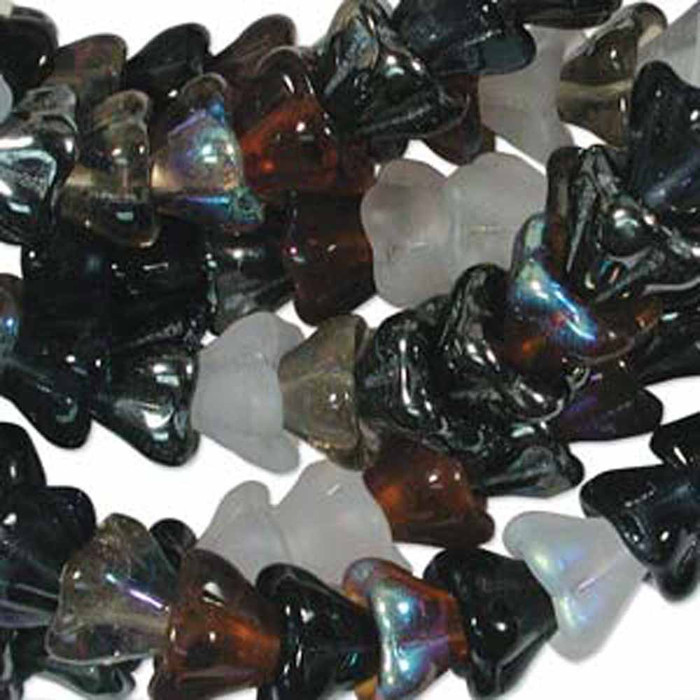 Pebblestone Mix 6x8mm Flower Cone 45 Bead Cap Czech Glass Beads