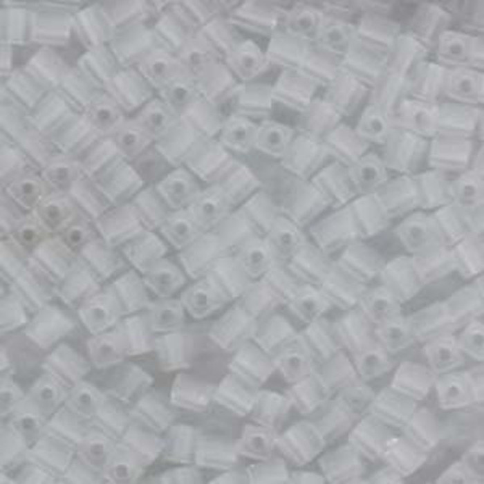 20Gr Clear Ab Frosted Miyuki 4mm Square Cube Glass Seed Beads