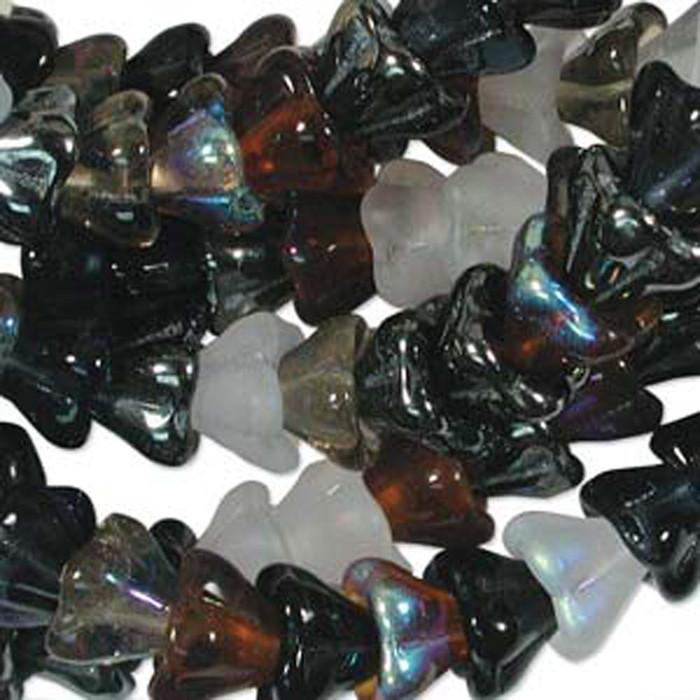 Pebblestone Mix 10x13mm Flower Cone 45 Bead Cap Czech Glass Beads