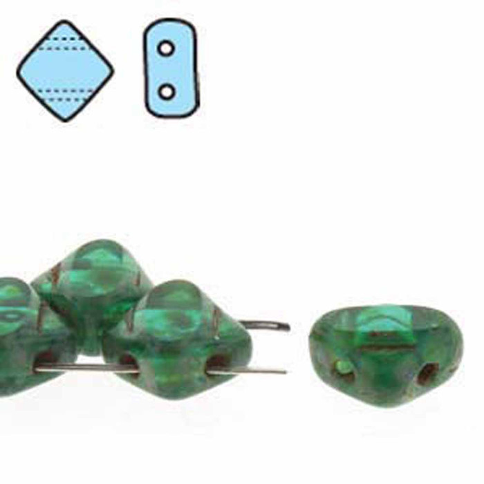 Green Zircon Picasso Table Cut 6mm Diamond Glass Czech Two Hole Tile Bead 40 Beads