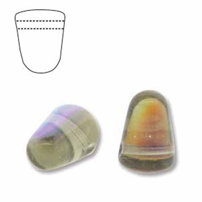 Black AB 20 Czech Glass Gumdrop Beads 7.5x10mm