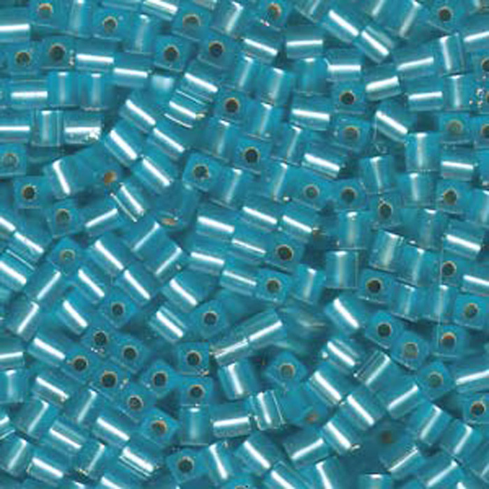 20Gr Aqua Matte Silver Lined Miyuki 4mm Square Cube Glass Seed Beads