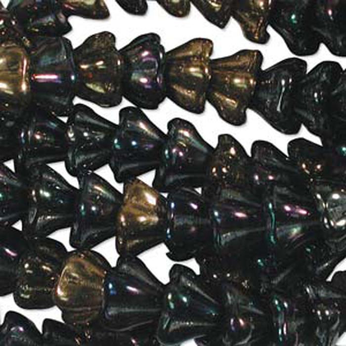Heavy Metals Mix 10x13mm Flower Cone 45 Bead Cap Czech Glass Beads