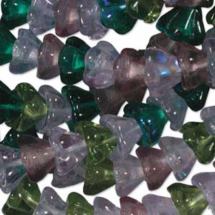 Lavender Garden Mix 6x8mm Flower Cone 45 Bead Cap Czech Glass Beads