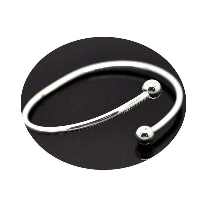4 Pcs Silver Plated Bangle Bracelets Fit European Beads Equal 8 1/2 Inch Removable Ball End