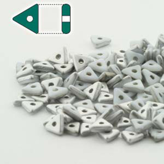Chalk White Labrador Matte Czech Glass Sead Tri Beads 4.6mmx1.3mm Thick Approx 9gr Tube