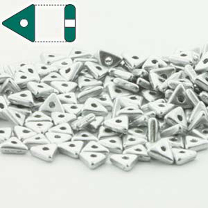 Aluminum Silver Czech Glass Sead Tri Beads 4.6mmx1.3mm Thick Approx 9gr Tube