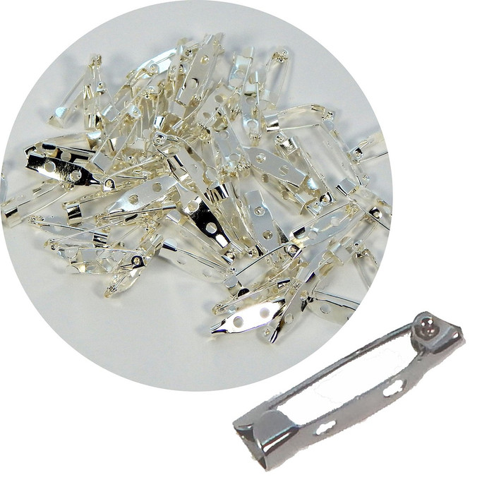 144 Bar 3/4 Inch 20mm Pin Backs Clasp Silver Plated Broach Name Badge Parts