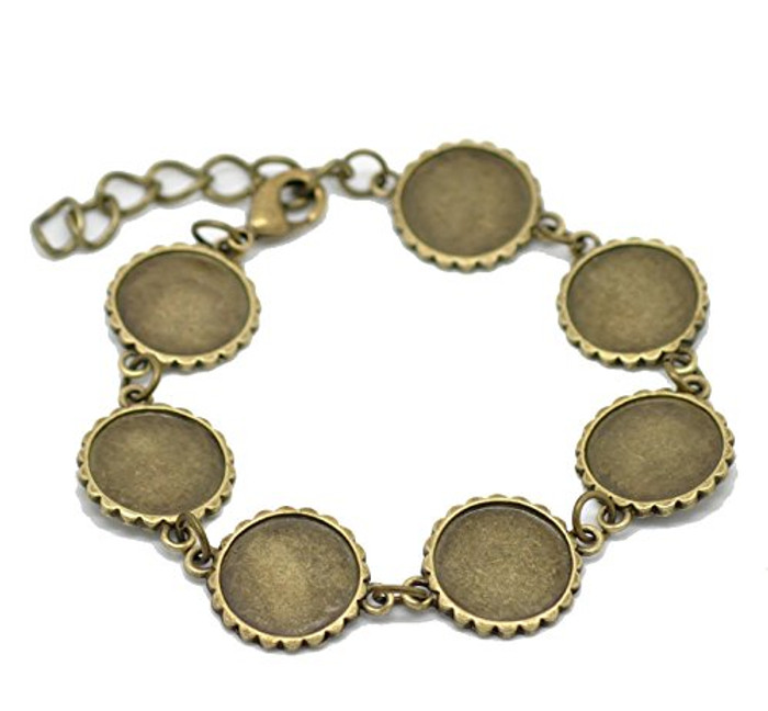 """2 Antiqed Brass Round Fits 16mm Cabochons Setting Disk Bracelets 8"""""""