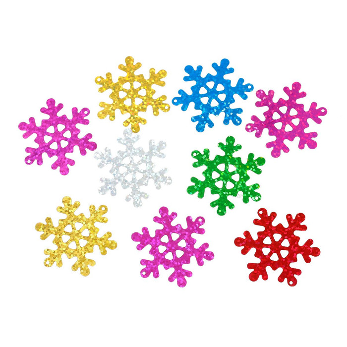 500 Randum Mix Snowflake Sequins for Sewing Card Making Poly Vinyl 40mm