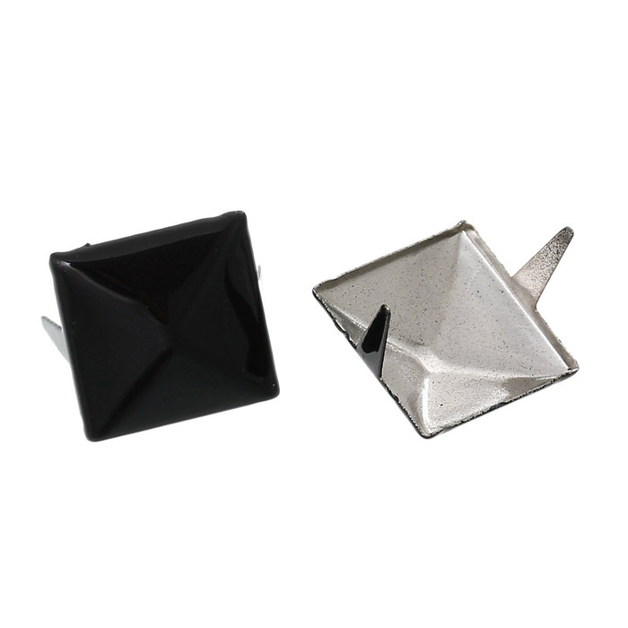250 Spike Rivets Studs Square Silver Tone Painted Black 12mm 1/2 Inch