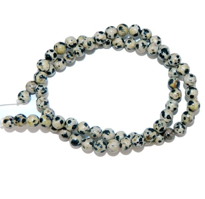 "6mm Dalmatian Japer Natural  Round Beads 40cm 15""  Stone"