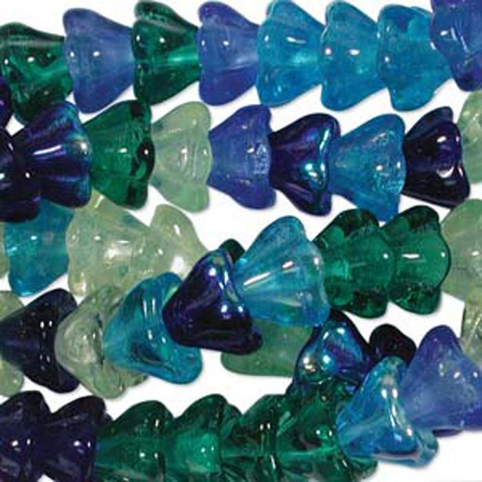 Lagoon Mix 10x13mm Flower Cone 45 Bead Cap Czech Glass Beads
