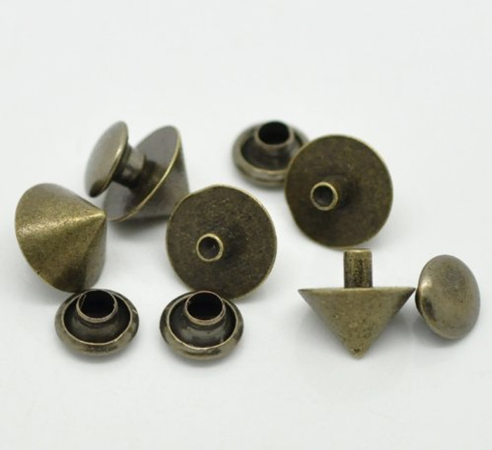 48 Sets Antiqued Brass Rivet Studs Spots 7x4mm Punk Gothic or Leather Work