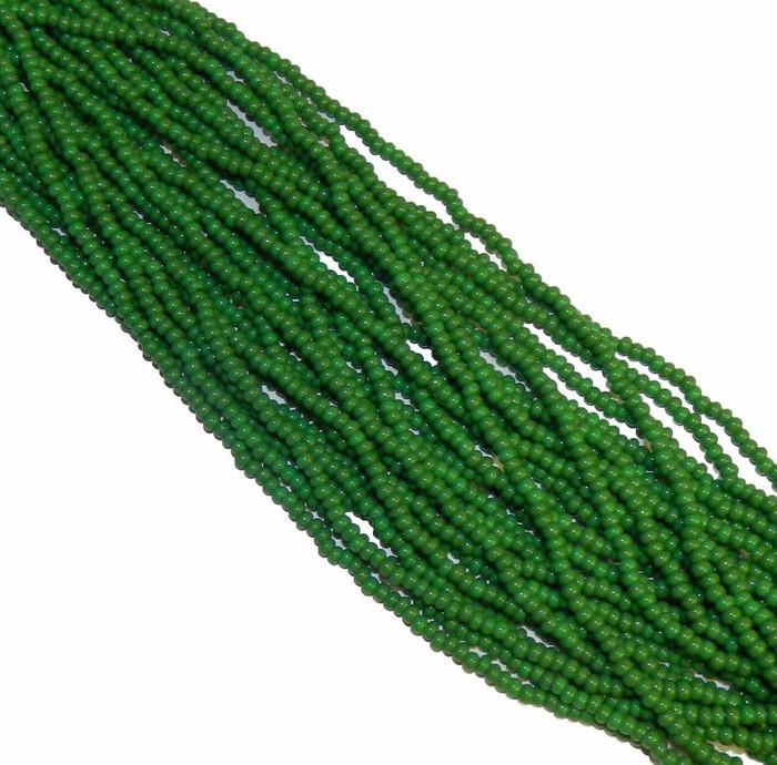 Green Opaque Preciosa Czech Glass 6/0 Seed Bead on Loose Strung 6 String Hank