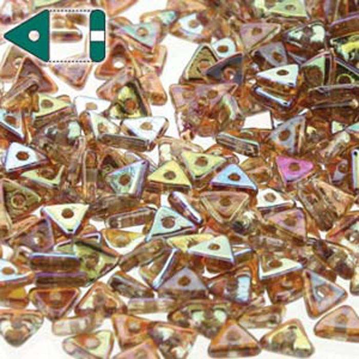 Crystal Brown Rainbow Czech Glass Sead Tri Beads 4.6mmx1.3mm Thick Approx 9gr Tube