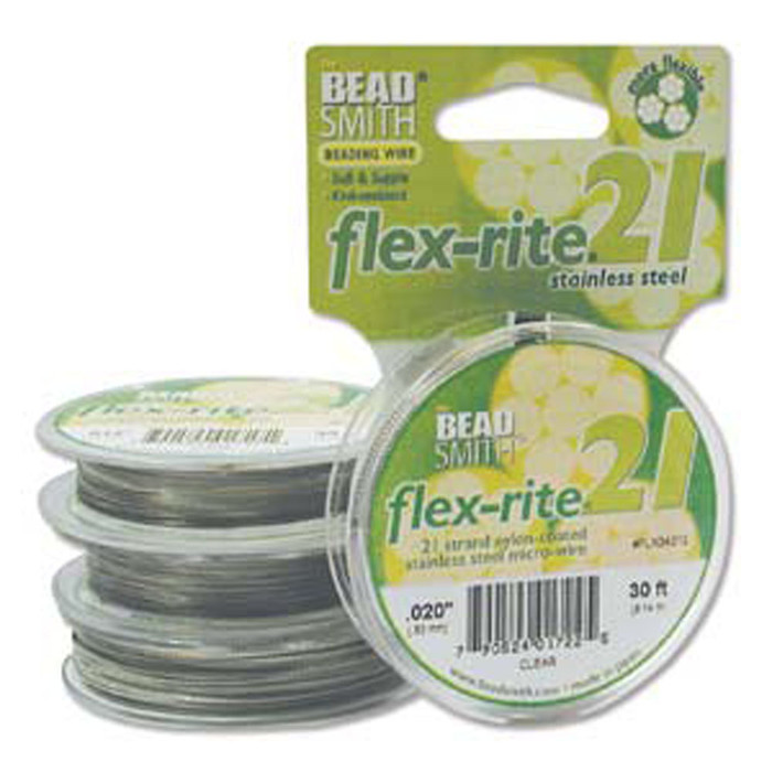 "21 Strand Clear Coated Flex Rite Beading Stringing Wire .020"" 30'"