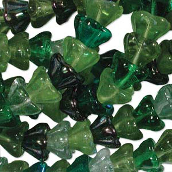 Evergreen Mix 10x13mm Flower Cone 45 Bead Cap Czech Glass Beads