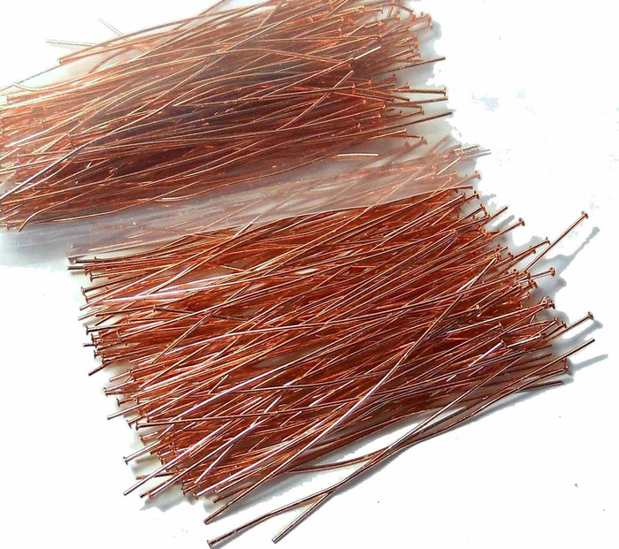 240 Head Pins 020dia X 2 Inch Copper Plated Thin 24 Gauge Wire