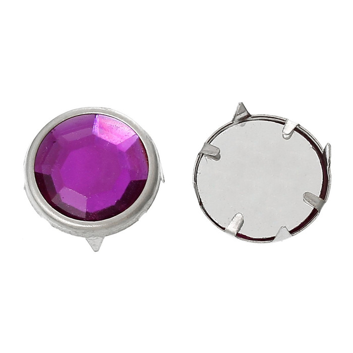 Spike Rivets Studs Square Silver Purple Acrylic 13mm 250 Pcs