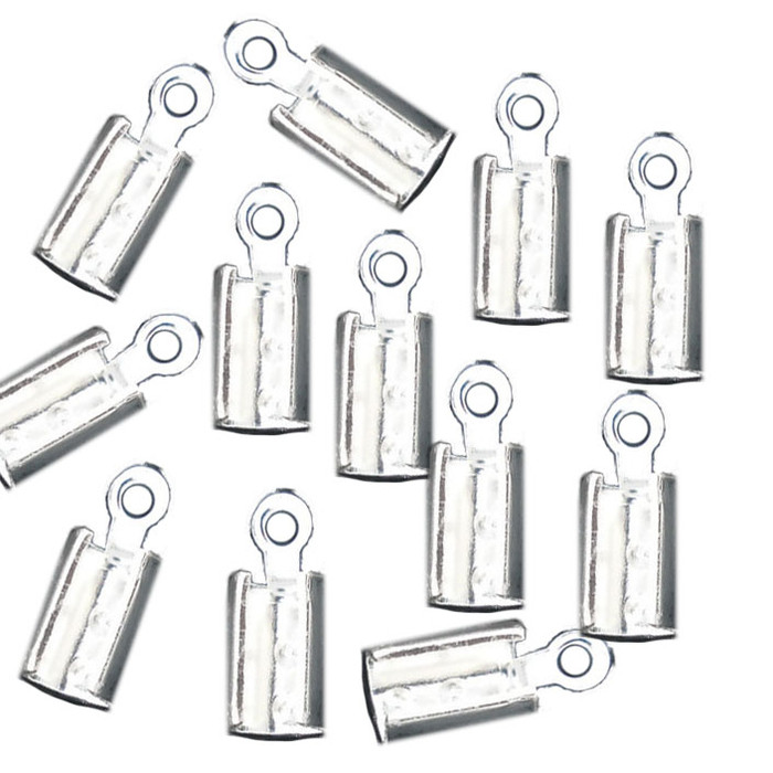 180 Cord End/tip Crimp Silver Plated Glue-in Style 10x4mm