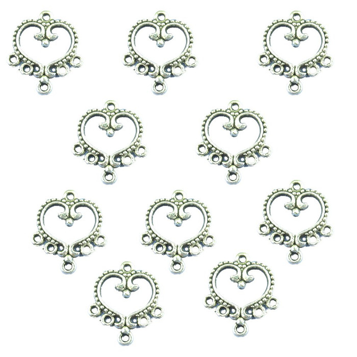 30 Charm Pendants Connectors Heart Antique Silver 19x21mm
