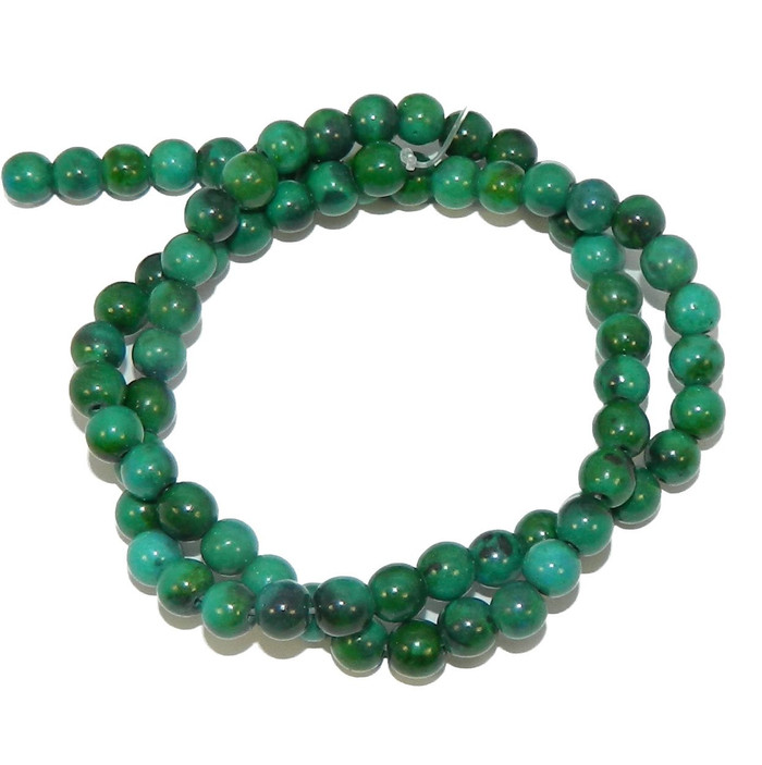 "6mm Azurite Chrysocolla Dyed  Round Beads 40cm 15""  Stone"