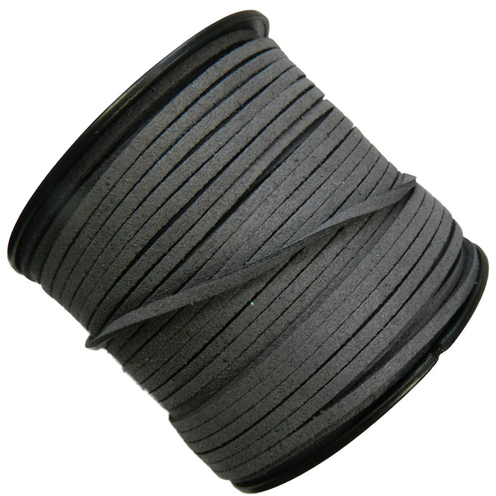 Gray Micro Fiber Faux Suede 3mm 90 Yard Spool Flat Lace Beading Craft Cord
