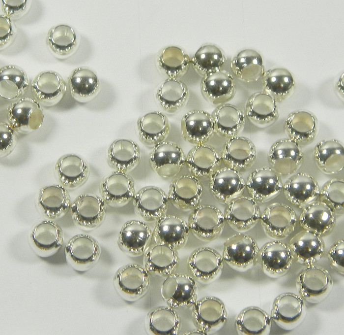100 Beads Silver-plated Brass, 6mm Smooth Round, 3.3mm Hole Spacer Metal Bead 100