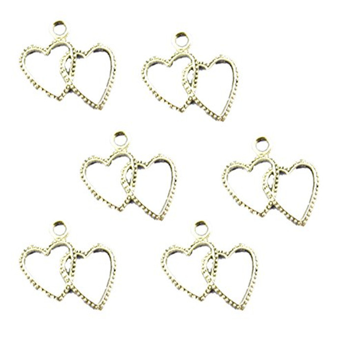 38 Charm Pendants Beads Heart Antique Silver 20x23mm