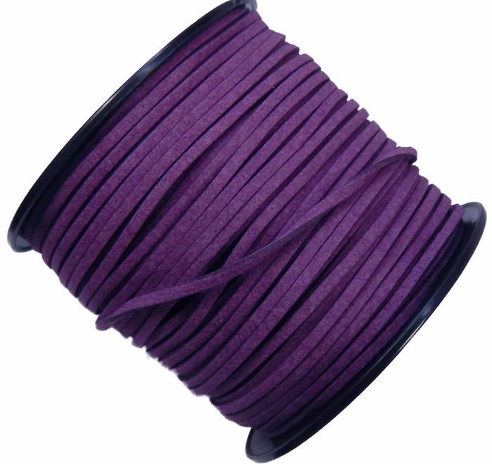 Purple Micro Fiber Faux Suede 3mm 90 Yard Spool Flat Lace Beading Craft Cord