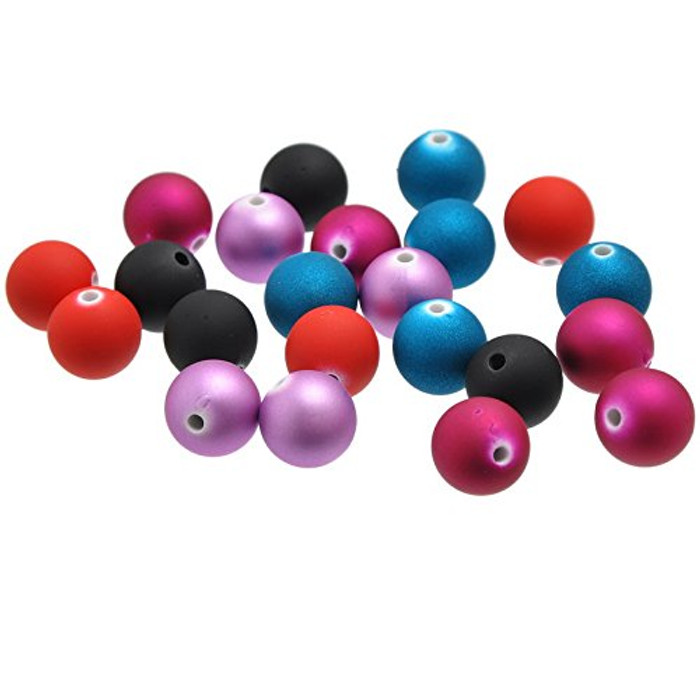48 Acrylic Spacer Beads Round Mixed 14mm