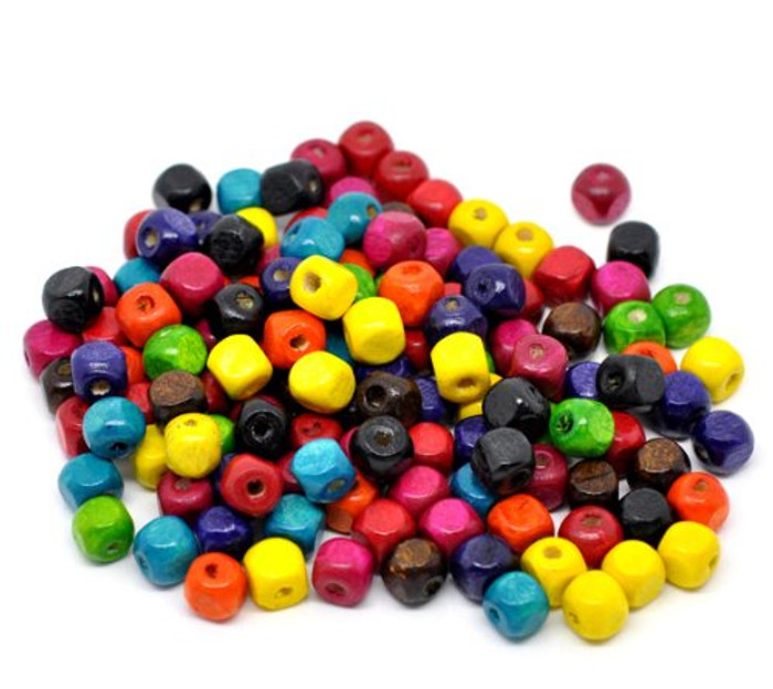 250 Square Cube Wood Spacer Beads 8mm Mixed Colors Painted