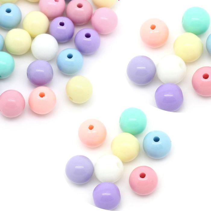 280 Random Pastel Acrylic Spacer Beads Round 8mm Hole 1.6mm