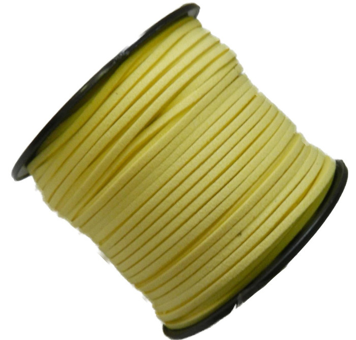 Yellow Micro Fiber Faux Suede 3mm 90 Yard Spool Flat Lace Beading Craft Cord