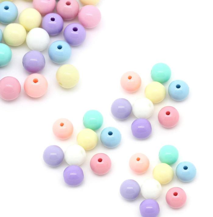 450 Random Acrylic Spacer Beads Round Pastel 6mm Hole 1.5mm