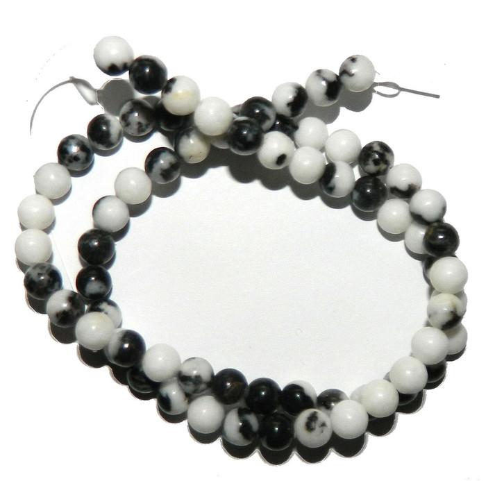 """6mm Black White Zebra Jasper Natural  Round Beads 40cm 15""""  Stone"""