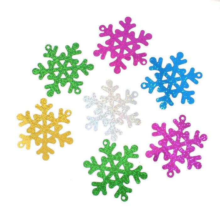 300 Randum Mix Snowflake Sequins for Sewing Card Making Poly Vinyl 63mm