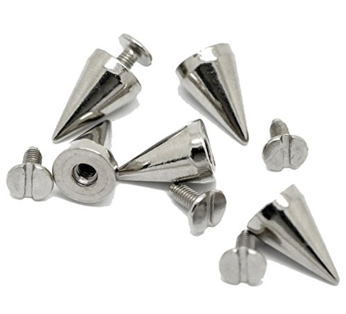 19 Sets Steal Tone Cone Screw on Spike Rivet Studs 15x10mm Approx 5/8 Inch Spike Punk Gothic or Leather Work