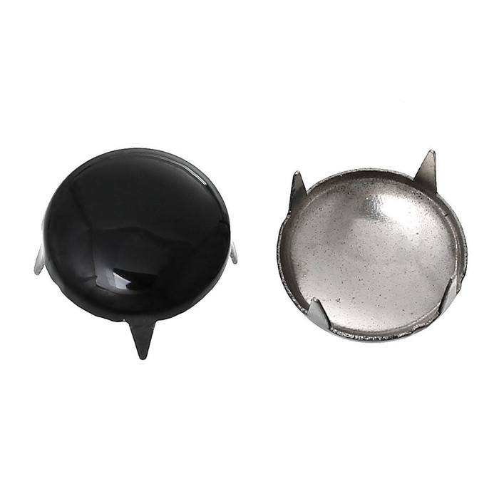 250 Spike Rivets Studs Round Silver Tone Painted Black 12mm 1/2 Inch