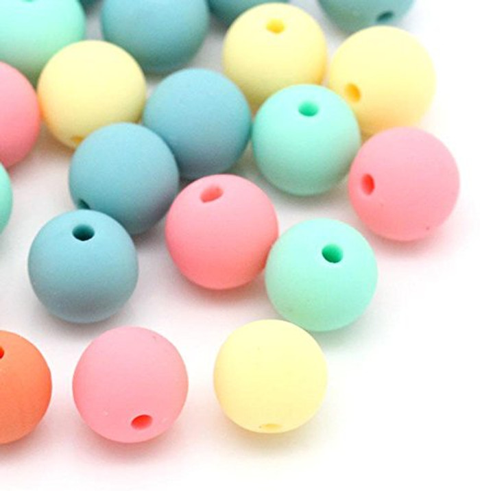 """90 Acrylic Spacer Beads Round Random Mix 9x10mm( 3/8""""),hole:approx 1.8mm,"""