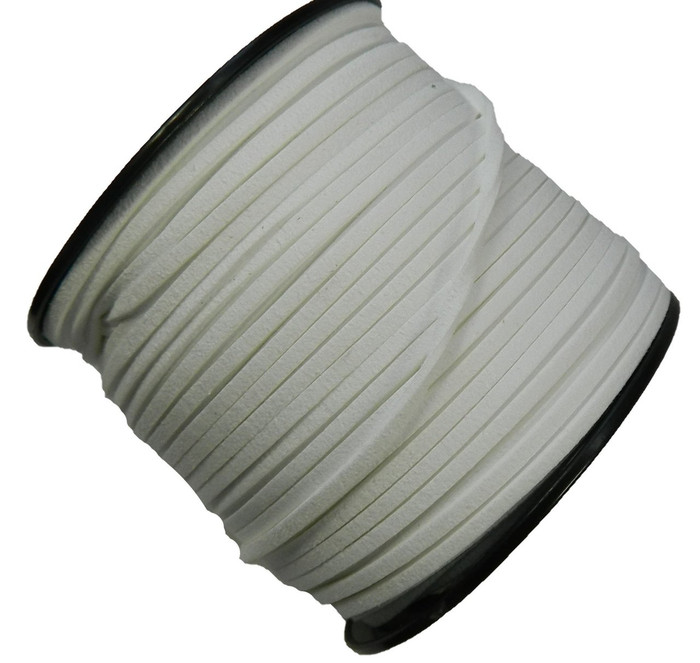 White Micro Fiber Faux Suede 3mm 90 Yard Spool Flat Lace Beading Craft Cord
