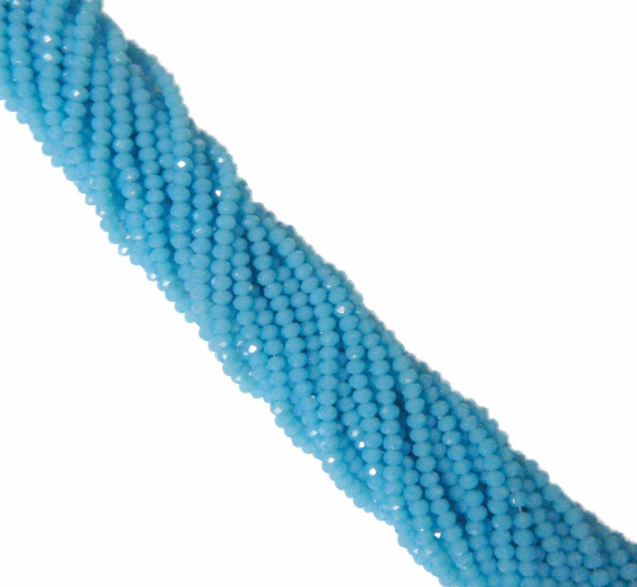 Aqua Alabaser Faceted 4mm Rondelle Beads 120 Piece Luster Glass Beads